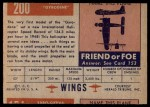 1952 Topps Wings #200   Fairey Gyrodene Back Thumbnail