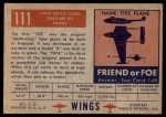 1952 Topps Wings #111   707A Delta Wing Back Thumbnail