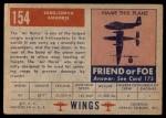 1952 Topps Wings #154   Saro-Cierva Airhorse Back Thumbnail