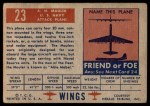 1952 Topps Wings #23   AM Mauler Back Thumbnail