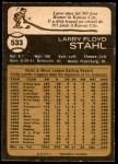1973 O-Pee-Chee #533  Larry Stahl  Back Thumbnail