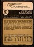 1973 O-Pee-Chee #561  Jim Geddes  Back Thumbnail