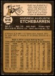 1973 O-Pee-Chee #618  Andy Etchebarren  Back Thumbnail