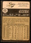 1973 O-Pee-Chee #215  Dusty Baker  Back Thumbnail