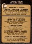 1973 O-Pee-Chee #81   -  Whitey Lockman / Hank Aguirre / Ernie Banks / Larry Jansen / Pete Resier Cubs Leaders Back Thumbnail