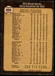 1973 O-Pee-Chee #208   -  Johnny Bench / Denis Menke / Bobby Tolan 1972 World Series - Game #6 - Reds' Slugging Ties Series Back Thumbnail