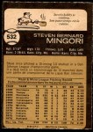1973 O-Pee-Chee #532  Steve Mingori  Back Thumbnail