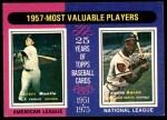 1975 O-Pee-Chee #195   -  Mickey Mantle / Hank Aaron 1957 MVPs Front Thumbnail
