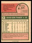 1975 O-Pee-Chee #29  Dave Parker  Back Thumbnail