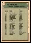 1979 O-Pee-Chee #349   Expos Team Checklist Back Thumbnail