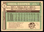 1976 O-Pee-Chee #78  Cecil Cooper  Back Thumbnail