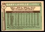 1976 O-Pee-Chee #105  Gary Lavelle  Back Thumbnail