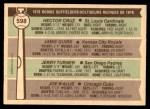 1976 O-Pee-Chee #598   -  Hector Cruz / Jamie Quirk / Jerry Turner / Joe Wallis Rookie Outfielders   Back Thumbnail