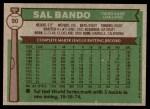1976 Topps #90  Sal Bando  Back Thumbnail