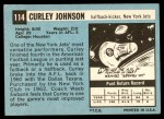1964 Topps #114  Curley Johnson  Back Thumbnail