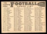 1959 Topps #146   Steelers Team Checklist Back Thumbnail