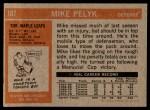 1972 Topps #107  Mike Pelyk  Back Thumbnail