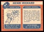 1968 Topps #64  Henri Richard  Back Thumbnail