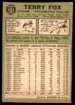 1967 Topps #181  Terry Fox  Back Thumbnail