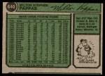 1974 Topps #640  Milt Pappas  Back Thumbnail