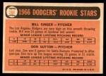 1966 Topps #288   -  Don Sutton / Bill Singer Dodgers Rookies Back Thumbnail