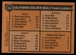 1975 Topps #316   -  Larry Patey / Stan Weir / Dave Hrechkasy Seals Leaders Back Thumbnail