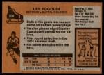 1975 Topps #306  Lee Fogolin   Back Thumbnail