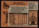 1975 Topps #28  Jim Lorentz   Back Thumbnail