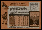 1975 Topps #205  Barclay Plager   Back Thumbnail