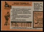 1975 Topps #223  Mario Tremblay  Back Thumbnail