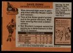 1975 Topps #187  Dave Dunn   Back Thumbnail