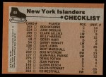 1975 Topps #92   Islanders Team Checklist Back Thumbnail