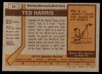 1973 Topps #14  Ted Harris   Back Thumbnail