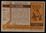 1973 Topps #61  Pat Quinn   Back Thumbnail