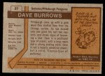 1973 Topps #27  Dave Burrows   Back Thumbnail