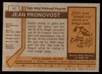 1973 Topps #11  Jean Pronovost   Back Thumbnail