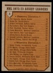 1973 Topps #2   -  Phil Esposito / Bobby Clarke Assists Leaders  Back Thumbnail