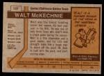 1973 Topps #127  Walt McKechnie   Back Thumbnail