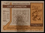 1973 Topps #143  Joey Johnston   Back Thumbnail