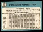 1965 Topps #209   Pirates Team Back Thumbnail