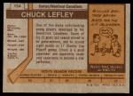 1973 Topps #154  Chuck Lefley   Back Thumbnail