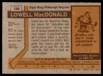 1973 Topps #128  Lowell MacDonald   Back Thumbnail