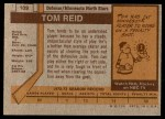 1973 Topps #109  Tom Reid   Back Thumbnail