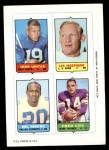 1969 Topps 4-in-1 Football Stamps  Johnny Unitas / Les Josephson / Mel Renfro / Fred Cox  Front Thumbnail