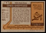 1973 Topps #8  Gregg Sheppard   Back Thumbnail