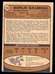 1974 O-Pee-Chee NHL #180  Borje Salming  Back Thumbnail