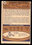 1974 O-Pee-Chee NHL #38  Henry Boucha  Back Thumbnail