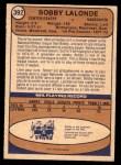 1974 O-Pee-Chee NHL #392  Bobby Lalonde  Back Thumbnail