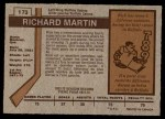 1973 O-Pee-Chee #173  Richard Martin  Back Thumbnail