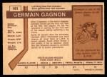 1973 O-Pee-Chee #161  Germaine Gagnon  Back Thumbnail